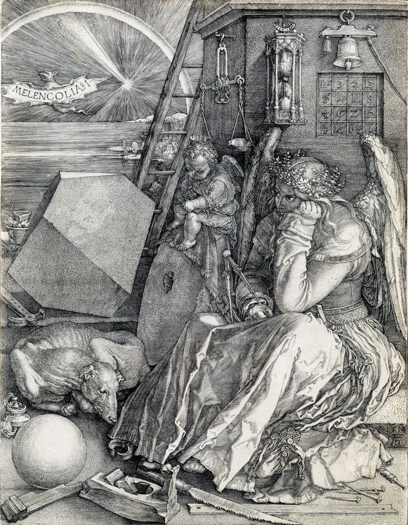 Lot 29: Albrecht Dürer, Melencholia I, engraving, 1514. Sold for $65,000.