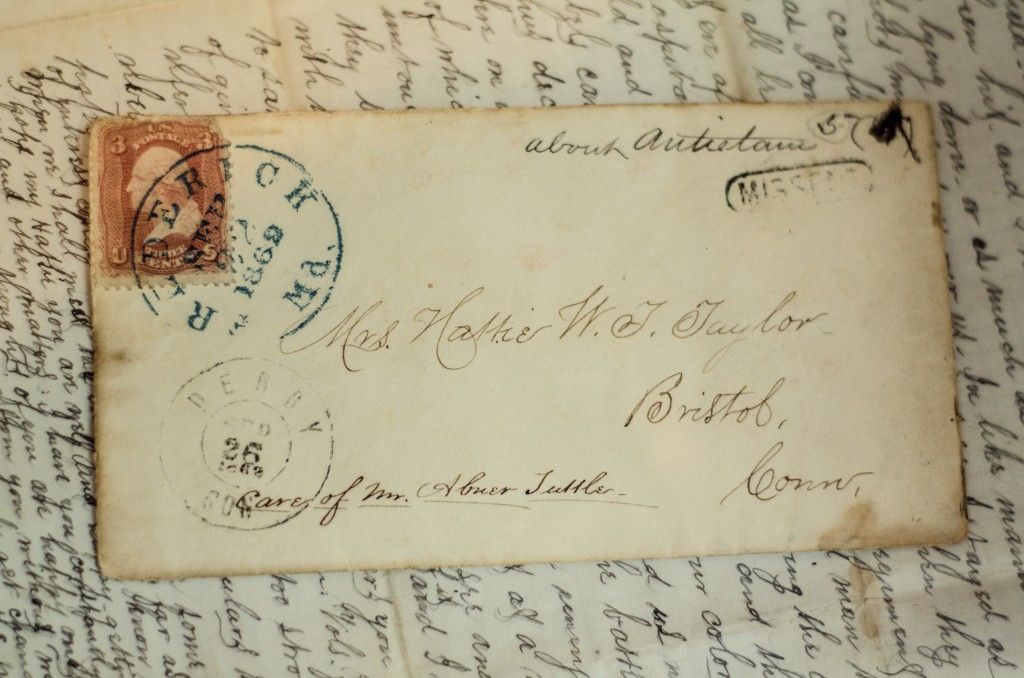 Most of the envelopes are preserved with the correspondence.