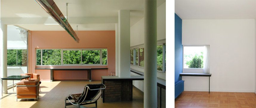 Le Corbusier, Villa Savoye, France, 1929. Two interiors showing complementary wall colors.