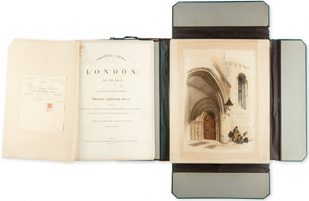 Lot 270: Thomas Shotter Boys, Original Views of London As It Is, deluxe issue in its original state, with 26 hand-colored lithographs, London, 1842. Estimate $5,000 to $7,500.