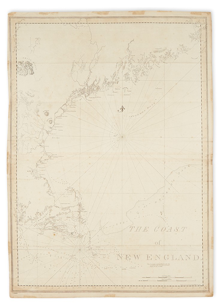Lot 36: Joseph Frederick Wallet Des Barres, The Coast of New England, engraved chart, London, 1776. Sold December 8, 2016 for $25,000.