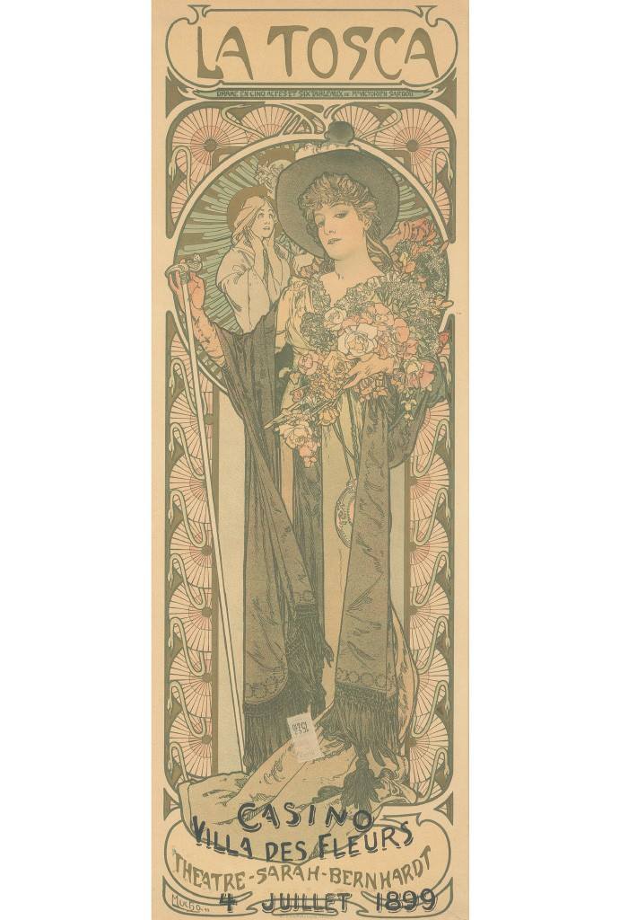 Lot 96: Alphonse Mucha, La Tosca, 1898. Estimate $4,000 to $6,000.