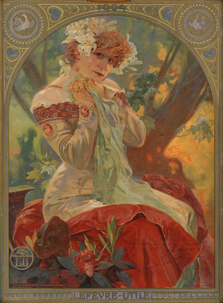 Lot 102: Alphonse Mucha, Lefèvre - Utile / Sarah Bernhardt, 1903. Estimate $5,000 to $7,500.