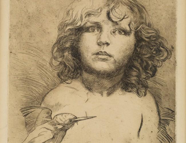 Lot 144: [Jirí Mucha and Hummingbird], etching, circa 1920. Estimate $1,000 to $1,500.