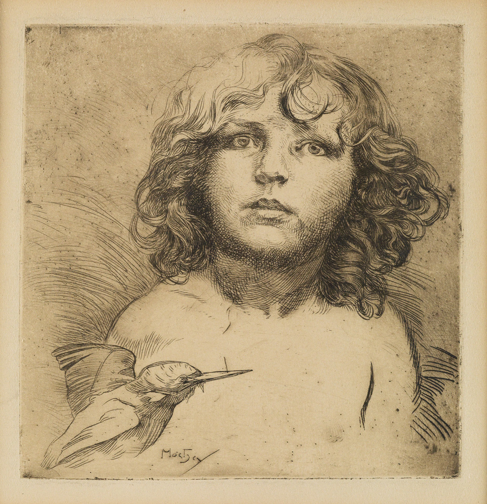 Lot 144: [Jirí Mucha and Hummingbird], etching, circa 1920. Estimate $1,000 to $1,500.
