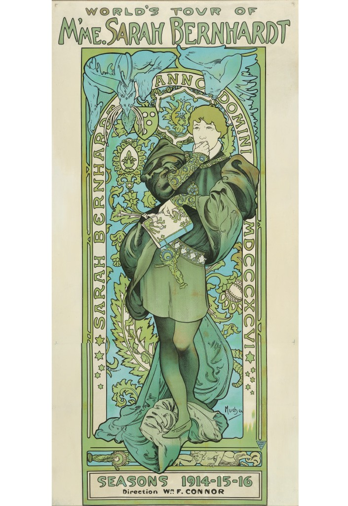 Lot 196: Alphonse Mucha, World Tour of M'me. Sarah Bernhardt, circa 1914. Estimate $7,000 to $10,000.