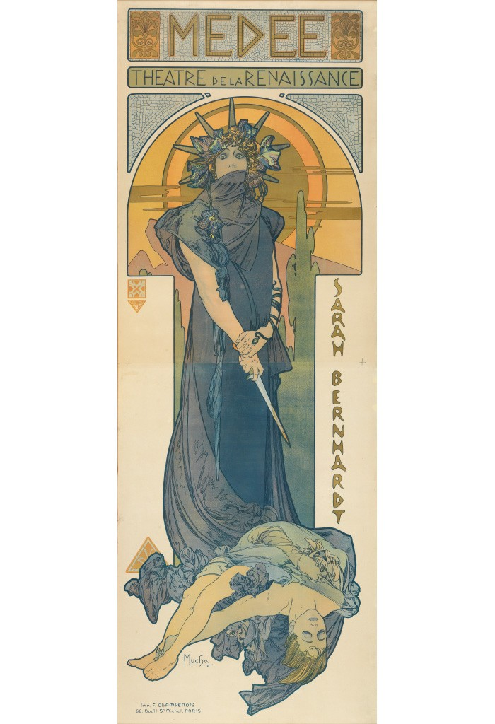 Lot 95: Alphonse Mucha, Medee / Sarah Bernhardt, 1898. Estimate $12,000 to $18,000.