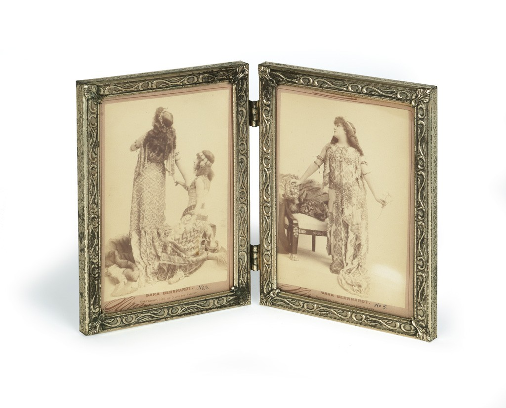 Lot 179: Napoleon Sarony, Sarah Berhardt, pair of promotional photographs, 1891. Estimate $300 to $400.