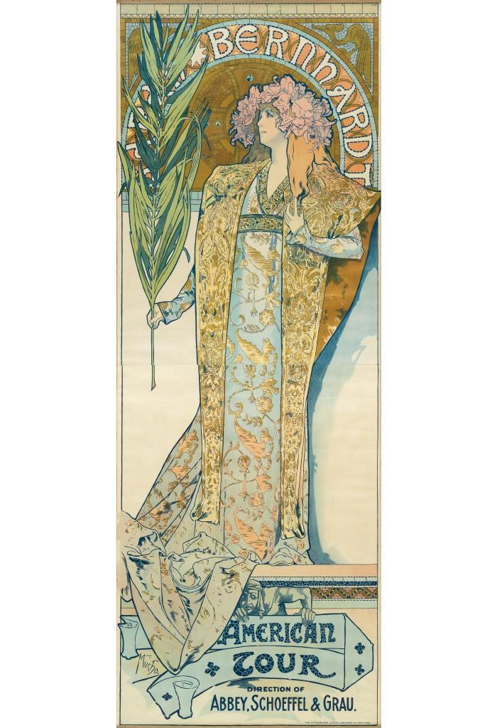 Lot 195: Alphonse Mucha, Sarah Bernhardt / American Tour, 1896. Estimate $7,000 to $10,000.