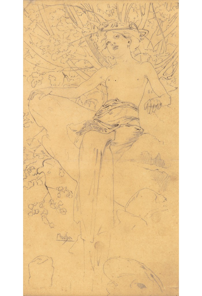 Lot 151: Preparatory pencil sketch for Documents Décoratifs, Pl. 5, circa 1902. Estimate $1,500 to $2,000.