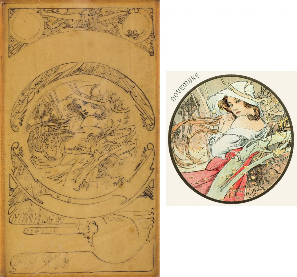 Left: Lot 149: Le Mois / Novembre, pen and ink preparatory sketch, circa 1899. Estimate $1,500 to $2,000. Right: Le Mois Novembre, postcard, circa 1900. Courtesy Christian Richet.