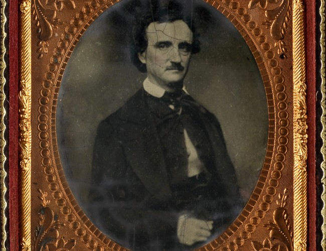 Lot 6: Six-plate tintype of Edgar Allan Poe, after a daguerreotype by William A. Pratt, taken a few weeks before Poe's death, 1849-late 1850s. Estimate $10,000 to $15,000.