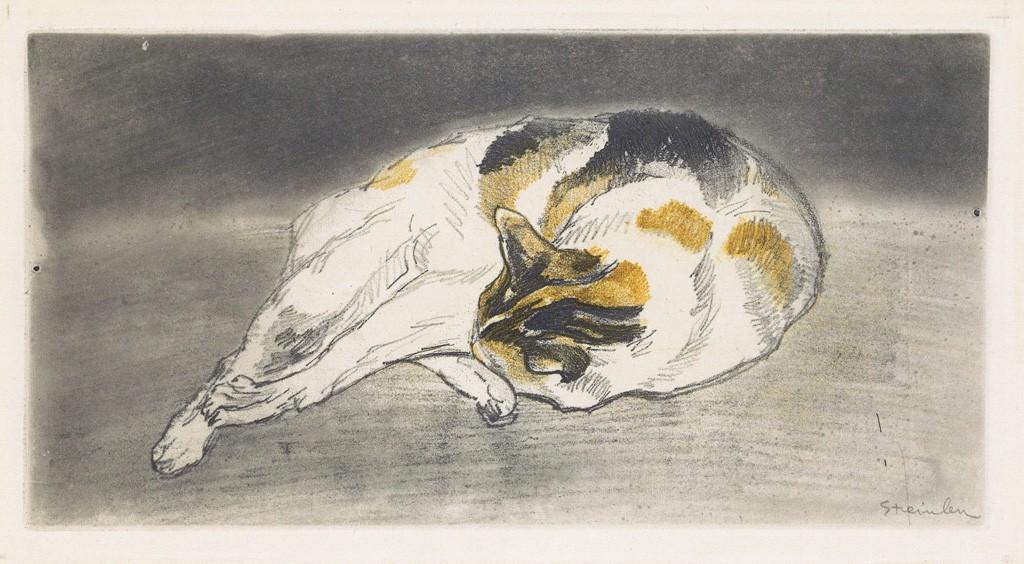 Lot 181: Théophile Steinlen, Chat couché allongé de droite a gauche tête appuyée contre les pattes, color soft ground etching, 1902. Estimate $3,000 to $5,000.