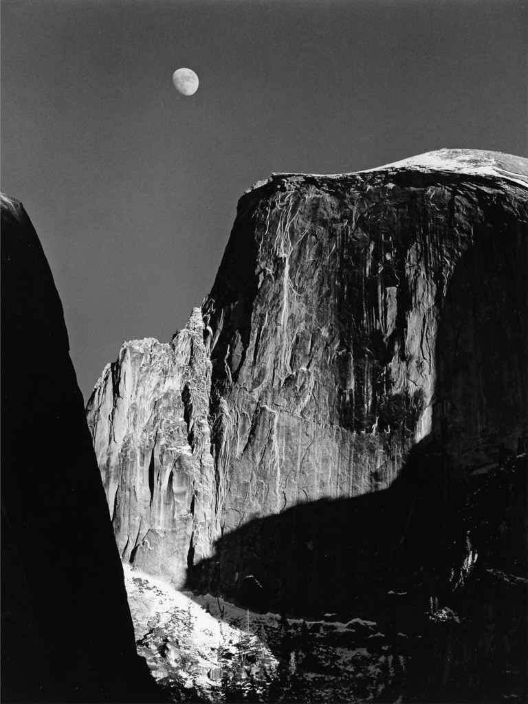 Lot 196: Ansel Adams, Moon and Half Dome, silver print, 1960, printed 1970s. Estimate $2,500 to $3,500.