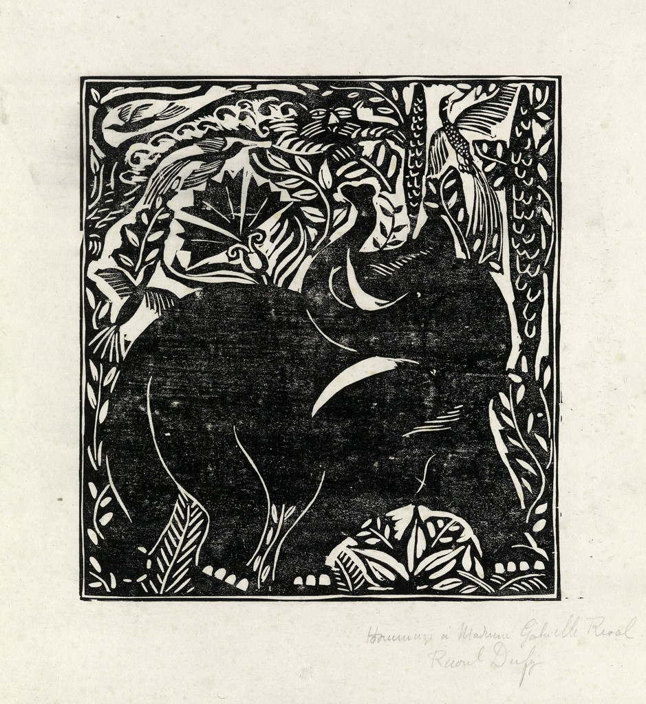 Lot 417: Raoul Dufy, Dauphin and Eléphante, two woodcuts, 1911. Estimate $2,000 to $3,000.