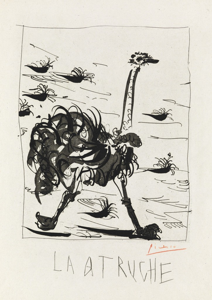 Lot 364: Pablo Picasso, L'Autruche, aquatint, grattoir and drypoint, 1941-42. Estimate $5,000 to $8,000.
