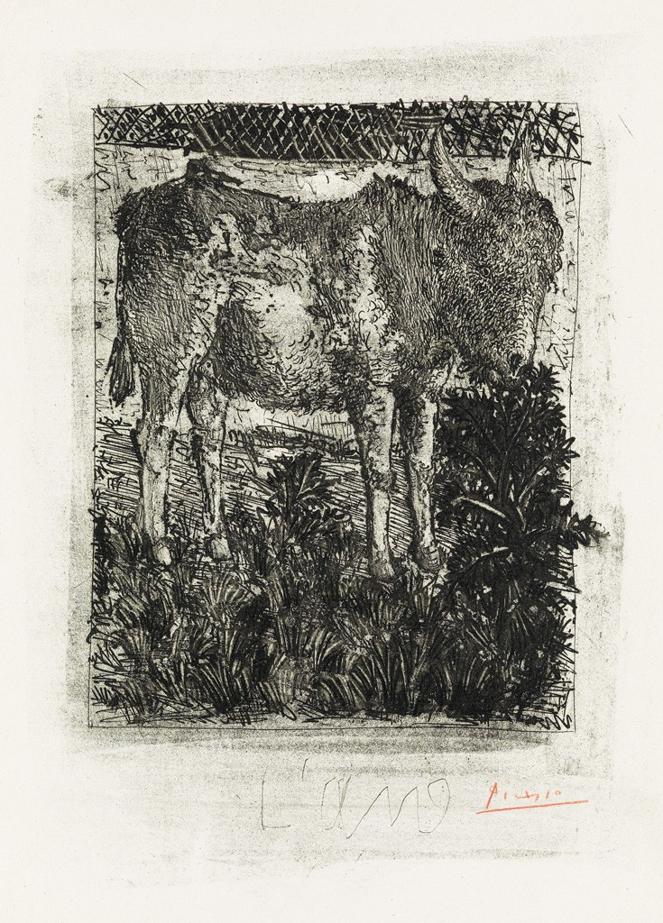 Lot 363: Pablo Picasso, L'Âne, aquatint, grattoir and drypoint, 1941-42. Estimate $7,000 to $10,000.