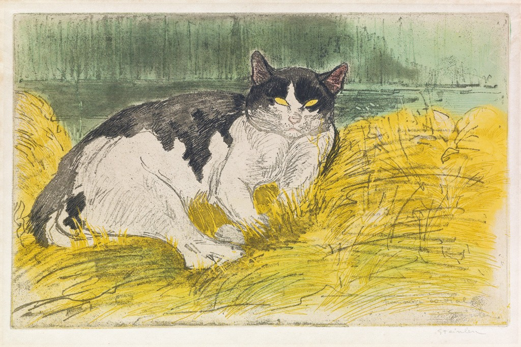 Lot 182: Théophile Steinlen, Vieux Chat noir et blanc dans l'herbe, color drypoint and aquatint, 1902. Estimate $5,000 to $8,000.