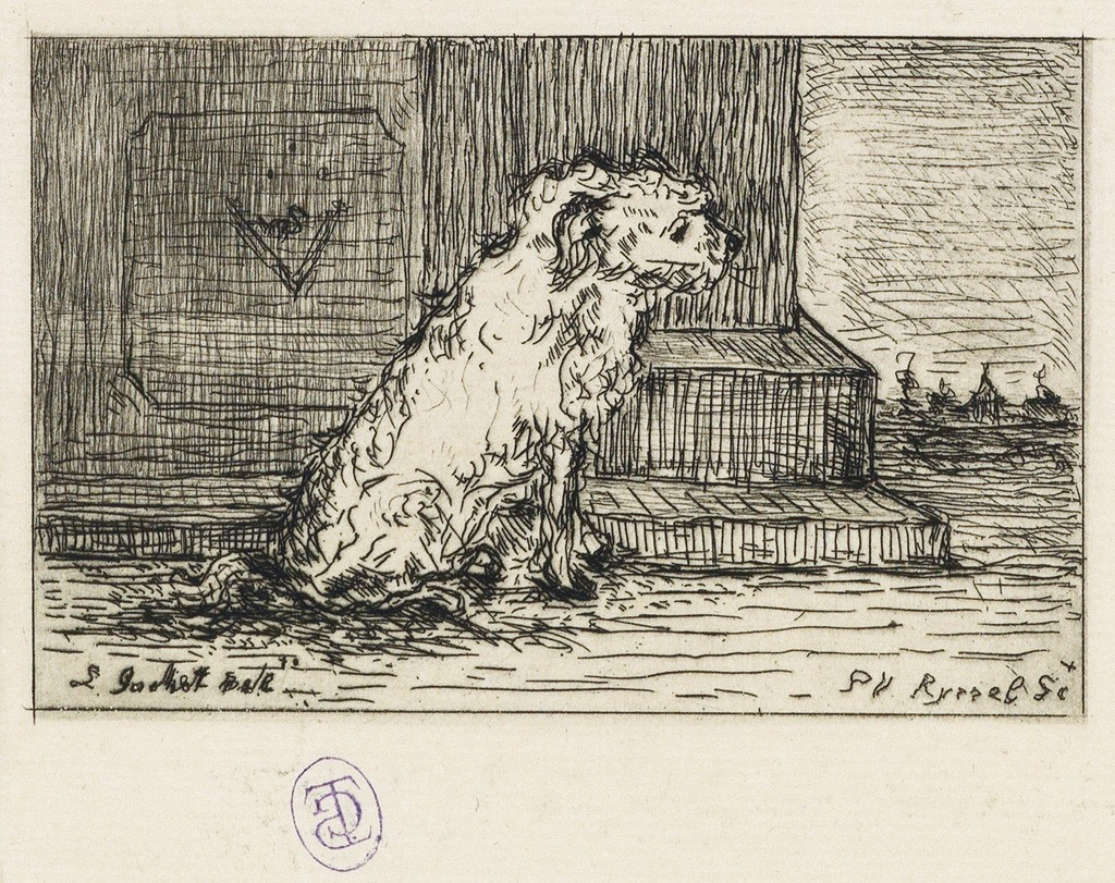 Lot 18: Paul F. Gachet, Chien, etching. Estimate $1,000 to $1,500.