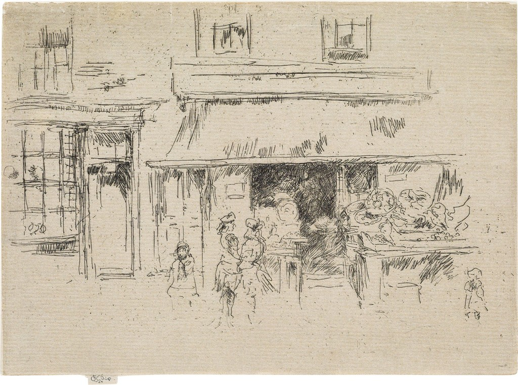 Lot 103: James A.M. Whistler, Exeter Street, etching, circa 1886-88. Estimate $20,000 to $30,000.