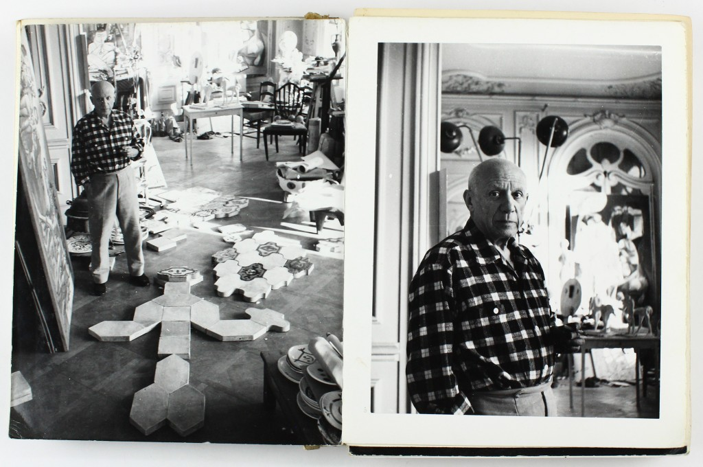 Lot 322: Lucien Clergue, Picasso en Provence, maquette for unpublished book featuring 150 candid photographs of Picasso by Clergue, silver prints, 1987. Estimate $8,000 to $12,000.