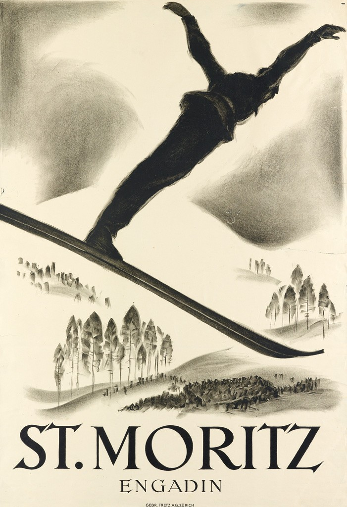 Lot 38: Carl Moos, St. Moritz / Engadin, circa 1926. Estimate $5,000 to $7,500.
