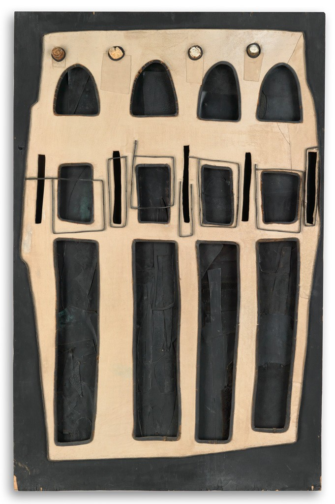 Lot 96: Noah Purifoy, Untitled (Wall Piece Assemblage), painted plywood, leather, suede and champagne corks, circa 1966-68. Estimate $20,000 to $30,000.