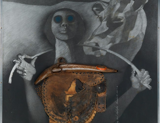 Lot 99: Timothy Washington, Raw Truth, engraving on aluminum with assemblage including cast iron, wood, nails, a zipper and a leather baseball mitt, with hand coloring, 1970. Estimate $15,000 to $25,000.