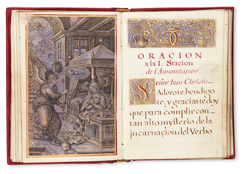 Lot 124: Oraciones, manuscript in Spanish on vellum, with 15 engravings, Brussels, 1676. Sold March 9, 2017 for $9,375.