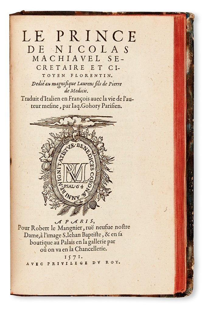 Lot 179: Niccolò Machiavelli, Le Prince, Paris, 1571. Estimate $1,500 to $2,500.
