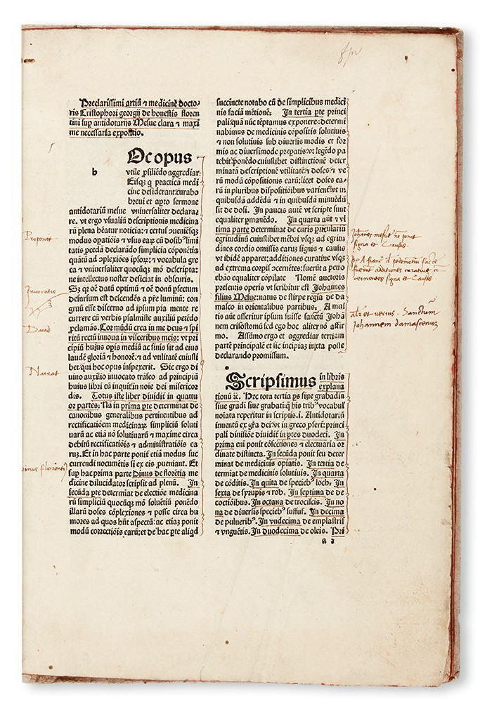 Lot 140: Christophorus Georgius de Honestis, Expositio super Antidotario Mesue, Bologna, 1488. Sold March 9, 2017 for $15,000.
