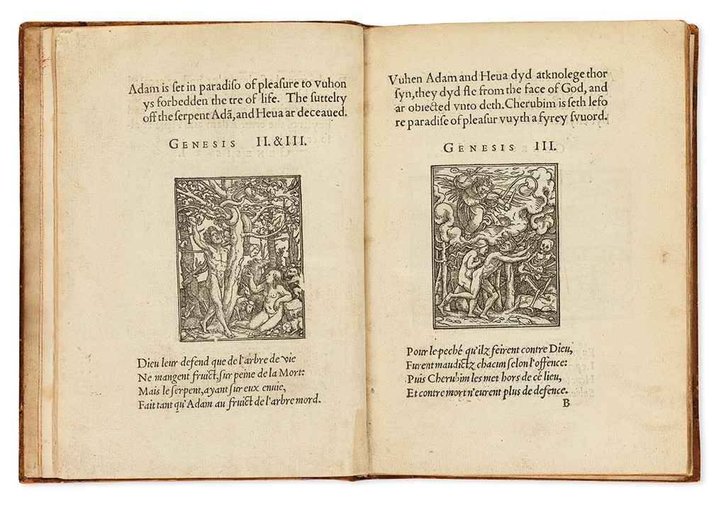 Lot 11: Hans Holbein, The Images of the Old Testament, with 94 woodcut illustrations, Lyon, 1549. Sold March 9, 2017 for $11,875.