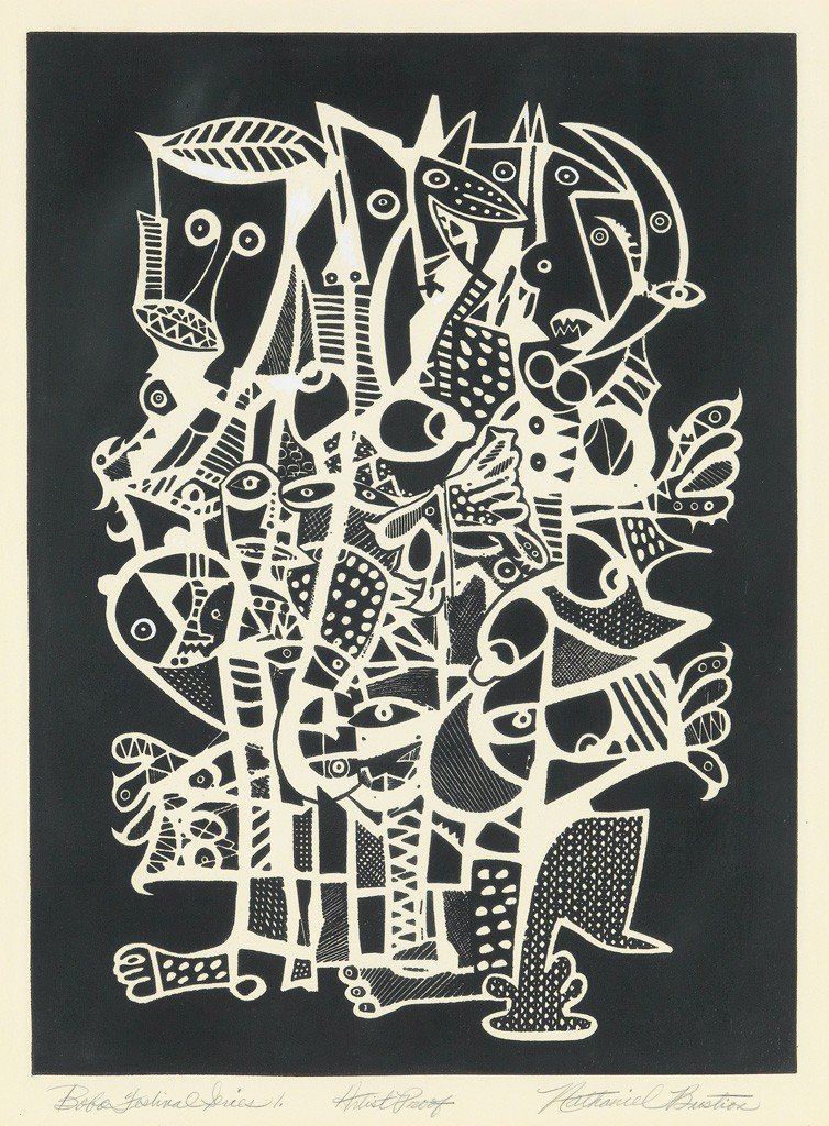Lot 93: Nathaniel Bustion, Bobo Festival Series 1, screenprint, circa 1978-90. Estimate $1,000 to $1,500.