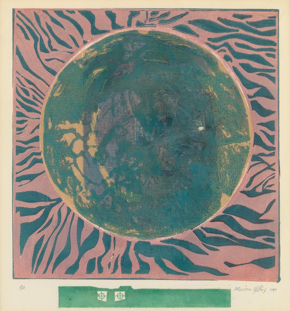 Marion Epting, Outer Space, color linoleum cut, circa 1971. Estimate $1,000 to $1,500.