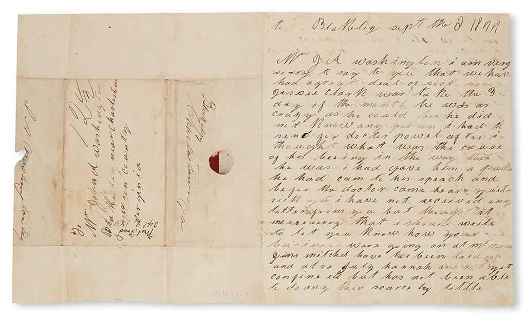Lot 24: West Ford, Autograph Letter Signed to John Augustine Washington, discussing recent illnesses, September 6, 1844. Estimate $10,000 to $15,000.