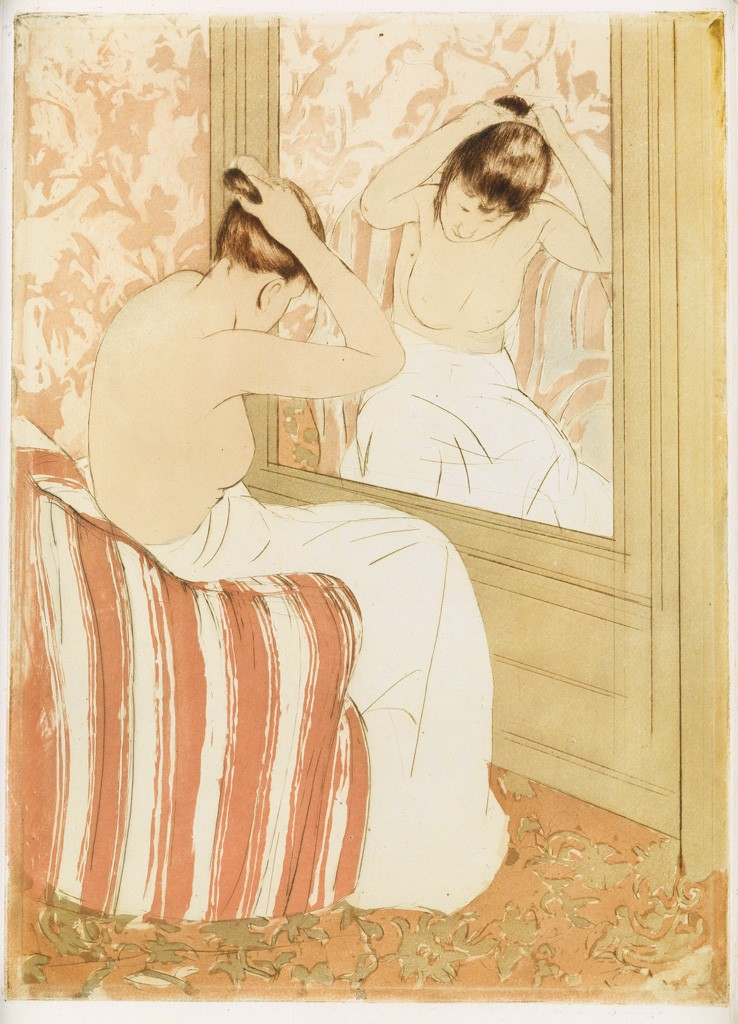 Lot 125: Mary Cassatt, The Coiffure, color drypoint and soft-ground etching, circa 1891. Sold March 2, 2017 for $81,250.
