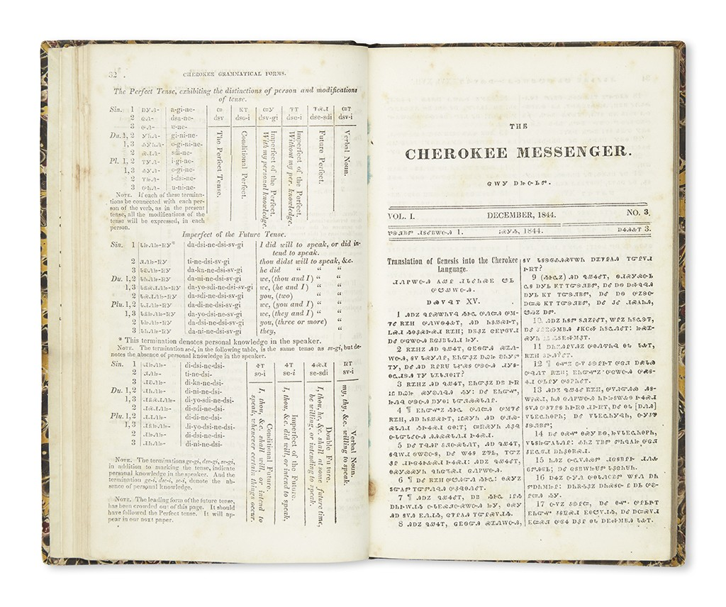 Lot 3: The Cherokee Messenger, complete set of 12, Oklahoma, August 1844-46. Estimate $5,000 to $7,000