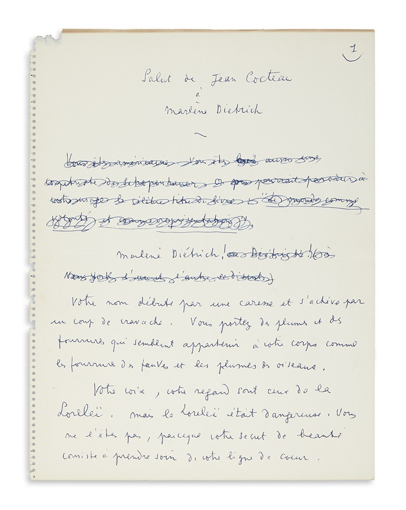 Lot 1: Jean Cocteau, Autograph Manuscript Signed, working draft of his poem, Tribute of Jean Cocteau to Marlene Dietrich, circa 1954. Estimate $4,000 to $6,000.