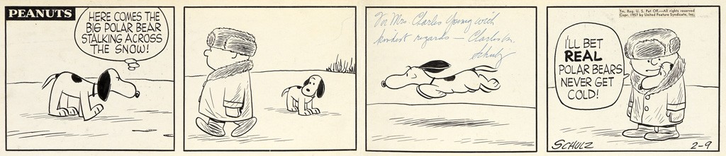 "Charles M. Schulz, ""Here comes the big polar bear stalking across the snow!"", pen and ink, 1957. Sold March 21, 2017 for $12,500."