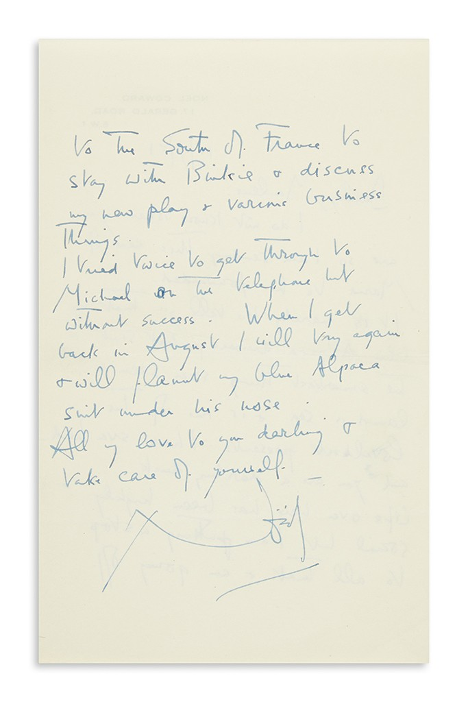 Lot 4: Noël Coward, Autograph Letter Signed to Marlene Dietrich, thanking her for the present of a blue alpaca suit, in French, London, July 13, 1951. Estimate $600 to $900.