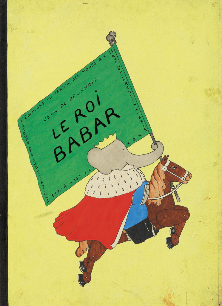 Lot 31: Jean de Brunhoff, Le Roi Babar, watercolor, cover illustration for the first edition of the third Babar book, 1933. Sold Mary 21, 2017 for $40,000.
