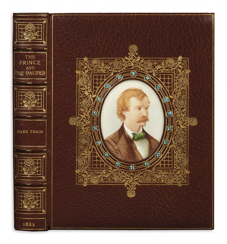 Lot 267: Mark Twain, The Prince and the Pauper, first edition in Cosway-style binding, Boston, 1882. Estimate $1,200 to $1,800.
