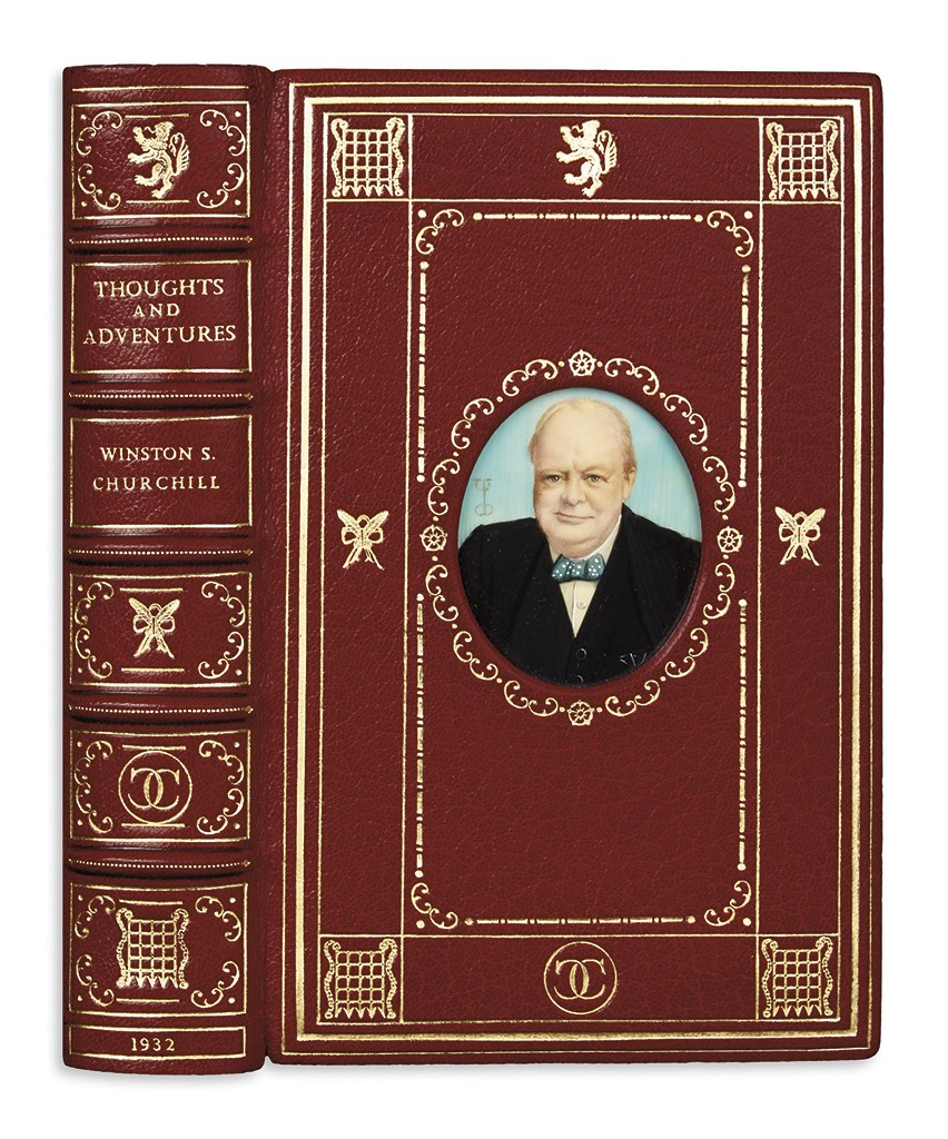 Lot 53: Winston S. Churchill, Thoughts and Adventures, first edition in Cosway style binding, with miniature watercolor portrait on the front cover, London, 1932. Estimate $1,000 to $1,500.