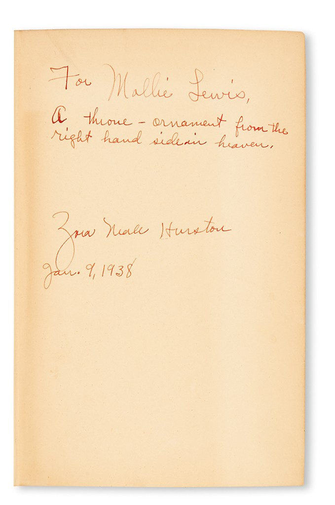 Lot 382: Zora Neale Hurston, Their Eyes Were Watching God, inscribed, 1937. Sold March 30, 2017 for $7,800, a record.