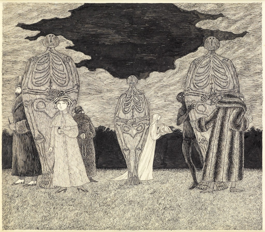 Lot 101: Edward Gorey, Skeletons and Hiding Figures, pen and ink, circa early 1980s. Sold March 21, 2017 for $18,750.