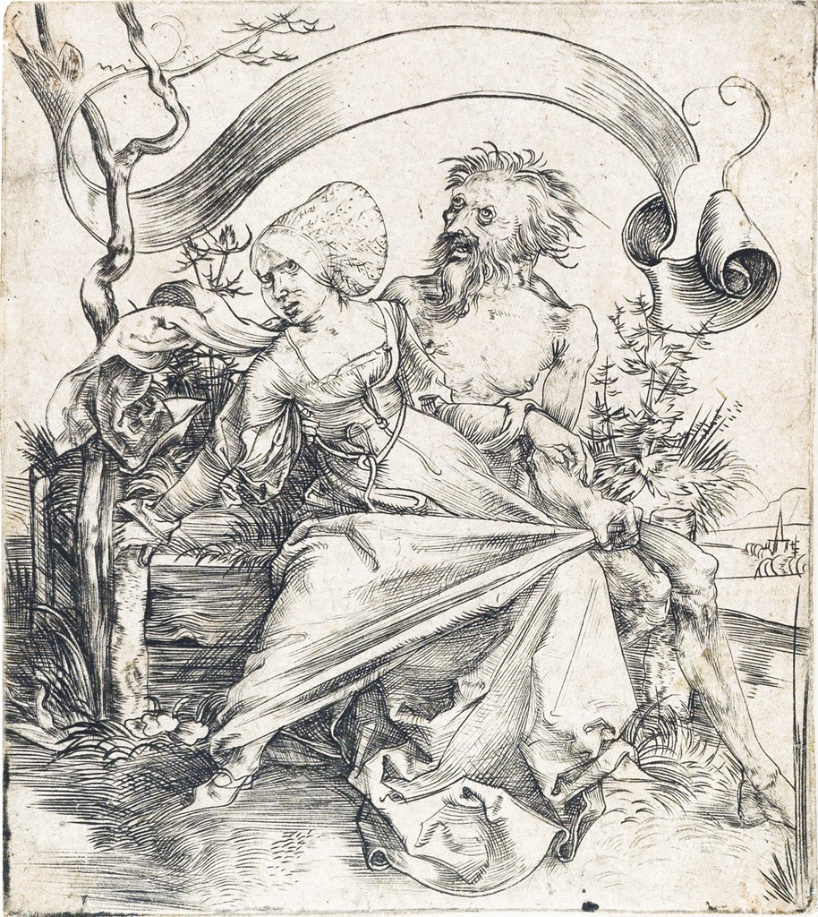 Lot 1: Albrecht Dürer, The Ravisher, or a Young Woman Attacked by Death, engraving, circa 1495. Estimate $7,000 to $10,000.
