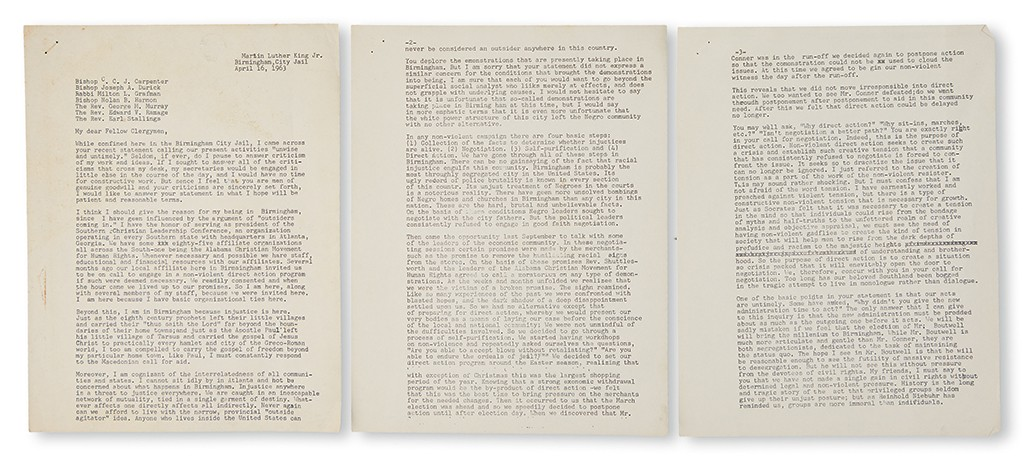 Lot 260: Dr. Martin Luther King, Jr., My Dear Fellow Clergymen, typed working draft for Letter From Birmingham Jail, April 16, 1963. Sold March 30, 2017 for $40,000.