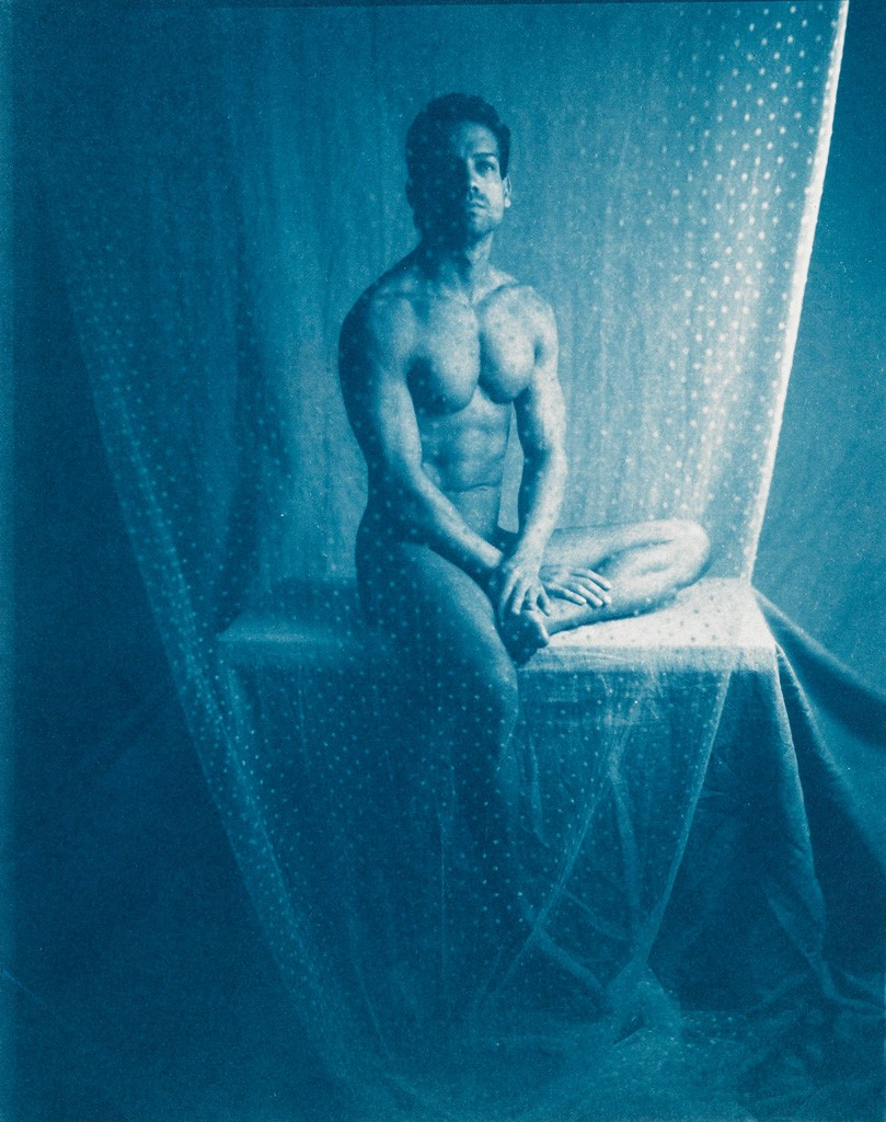 Lot 225: John Dugdale, Giovanni Through Screen, one of three cyanotype prints, 1992-94. Estimate $3,000 to $4,000.