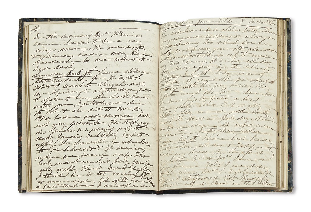 Lot 232: Edith H. Brevoort, manuscript diary, New York, May 8, 1848 through January 1, 1849. Estimate $1,000 to $1,500.