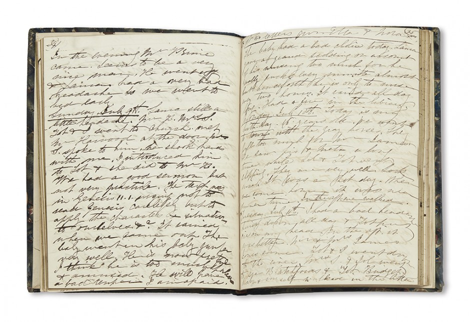 Lot 232: Edith H. Brevoort, manuscript diary, New York, May 8, 1848 through January 1, 1849. Estimate $1,000 to $1,500.